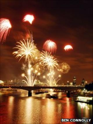 The fireworks at the Thames Festival in 2008 (photo: Ben Connolly)