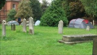 Tents at St Margaret's Church, Ipswich