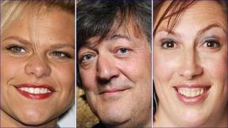 Photos: Jade Goody (PA), Stephen Fry (BBC) and Miranda Hart