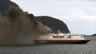 Smoke rising from the Norwegian cruise ship, the Nordlys