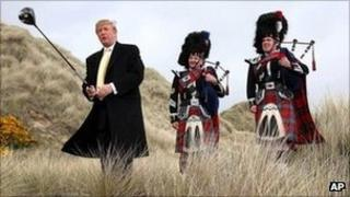 Donald Trump at the Menie site