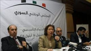 Syrian National Council unveiled. From left: Ahmed Ramadan, Bassma Kodmani, Abdulbaset Seida and Imad Aldeen Rashid