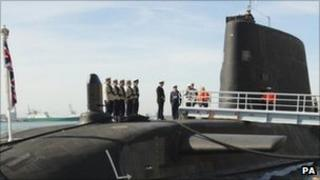 HMS Astute arriving in Southampton on 6 April