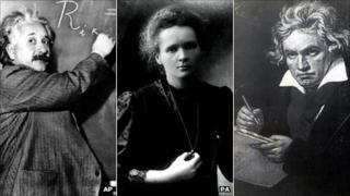 Einstein, Marie Curie, Beethoven