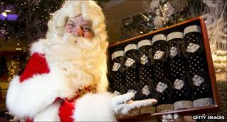 Father Christmas at Harrods in July