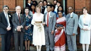 George Alagiah and his wife Frances on their wedding day