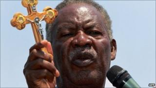 Zambia's newly elected President Michael Sata at a rally on 16 September