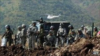 K-For soldiers reinforce the Jarinje border crossing in Kosovo