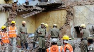 The site of Delhi building collapse