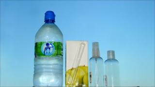 One litre water bottle, 330ml juice carton, 100ml liquid holders