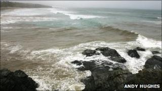 Discharge from an overflow at Godrevy in Cornwall