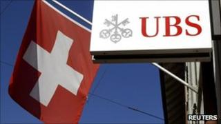 Swiss flag and UBS sign