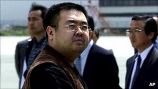 A man believed to be Kim Jong-nam, the eldest son of North Korean leader Kim Jong-il, at Narita International Airport, northeast of Tokyo in May 2001