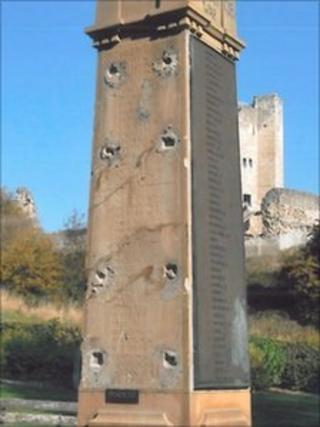 Damaged War memorial