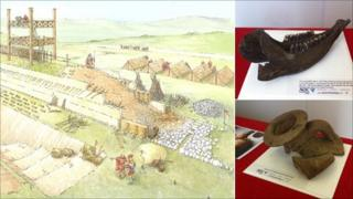 Artist's impression of Camelon fort and artefacts