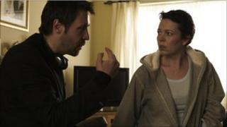 Paddy Considine with Olivia Coleman on the set of Tyrannosaur