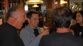 John Duckmanton with his friends in the Craven Arms, Birmingham