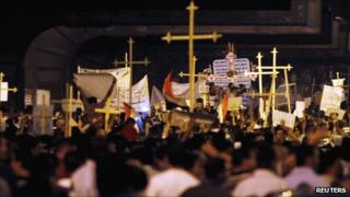 Egyptian Christians march in Cairo on 9 October 2011