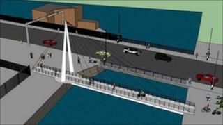 Lowestoft's cycle/pedestrian bridge - artist's impression