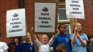 Protest outside Brent Library following decision to close it