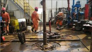 Oil workers drilling off the coast of Cameroon