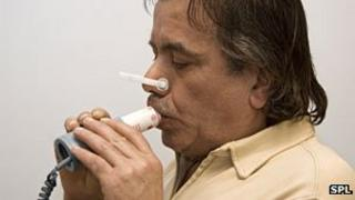 Man undergoing a breathing test