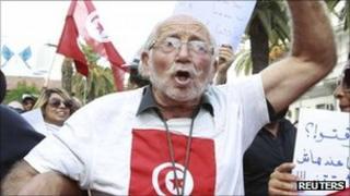 Anti-Islamist protester in Tunis