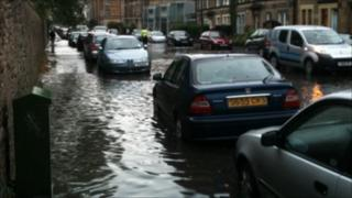 Flooding on Balcarres Street in Edinburgh
