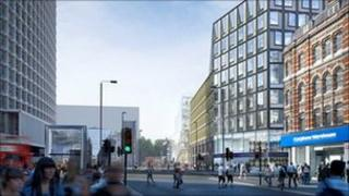 The proposed development at Tottenham Court Road, looking south towards Charing Cross Road