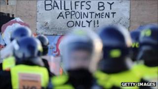 Riot police at Dale Farm