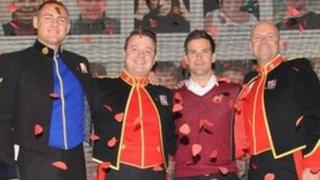 TV presenter Gethin Jones with The Soldiers (left to right) L/Cpl Ryan Idzi ,Staff Sergeant Ritchie Maddocks and Sergeant Major Gary Chilton