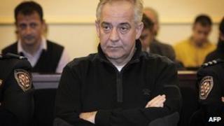 Croatian ex-Prime Minister Ivo Sanader in court in Zagreb, 28 October