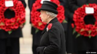 Queen at Remembrance Day service