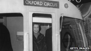 The Queen in the cab of a Tube train in 1969