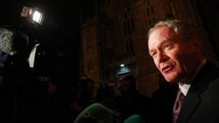 Martin McGuinness outside Dublin Castle on Friday evening