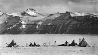 The camp at Mount Buckley, taken on return journey from South Pole - from David Wilson's book The Lost Photographs of Captain Scott (Little, Brown)