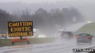 Highway sign reads 'Caution exotic animals' in Zanesville, Ohio 19 October 2011