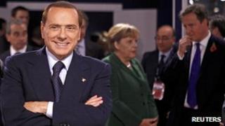 Italian Prime Minister Silvio Berlusconi at the G20, 3 Nov 11