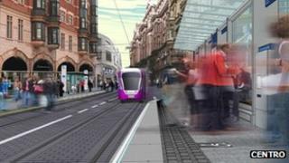 Computer generated image of Metro running down Corporation street