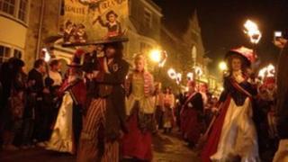 Lewes bonfire procession 2011