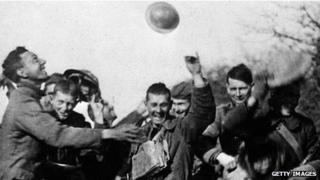Soldiers celebrating the armistice