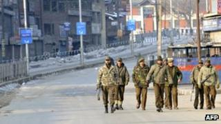 Indian security forces in Srinagar, Indian-controlled Kashmir