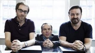Stephen Merchant, Warwick Davis and Ricky Gervais in Life's Too Short
