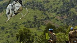 A UN helicopter in eastern Democratic Republc of Congo (Februrary 2006)