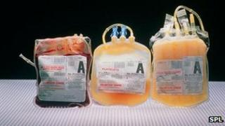 Units of red blood cells, platelets and plasma