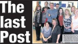 Front page of the last edition of the Chase Post