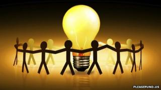 Figures holding hands around a light bulb (pic courtesy of pleasefund.us)