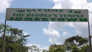 A sign in front of what was Jonestown