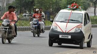 A Tata Nano on an Indian road