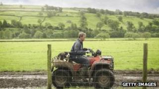 A farmer on a quad bike